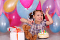 Happy little girl on her Birthday Stock Images
