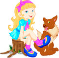 Happy little girl with her pet Royalty Free Stock Photo