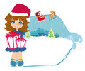 Happy little girl holding a gift from santa claus illustration Stock Image