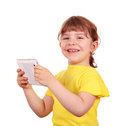 Happy little girl holding tablet Royalty Free Stock Photo