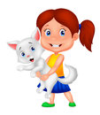 Happy little girl hugging her pet Royalty Free Stock Photo