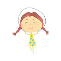 Happy little girl jumping rope, kids outdoor activity colorful character vector Illustration