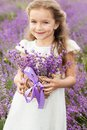 Happy little girl in lavender field with basket of Royalty Free Stock Photo