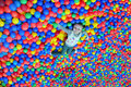 Happy little girl lays on the big heap of multicolored small balls