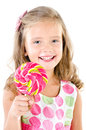 Happy little girl with lollipop isolated on a white Royalty Free Stock Photos