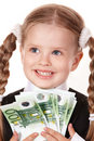 Happy little girl with money euro. Stock Photos