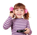 Happy little girl play video game Stock Photography