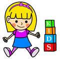 Happy little girl playing illustration of with kids letters cubes making the word kids Stock Photo