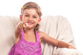 Happy little girl pointing Royalty Free Stock Photo