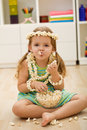 Happy little girl with popcorn Royalty Free Stock Photo