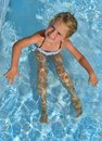 Happy little girl seat in the swimming pool. Royalty Free Stock Photo