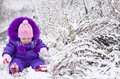 Happy little girl in snowy landscape Stock Image