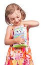 Happy little girl taking present Royalty Free Stock Photo
