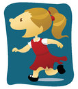 Happy little girl wearing red white summer dress school uniform running against blue background Royalty Free Stock Image