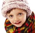 Happy little girl winter portait Royalty Free Stock Photo