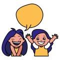Happy little girls with speech bubble