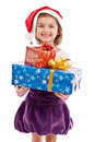 Happy little Santa Claus girl isolated on white Royalty Free Stock Photo