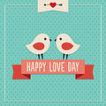 Happy love day card with two cute birds sweet hipster greeting for valentines and ribbon banner Royalty Free Stock Image