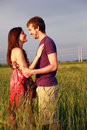 Happy lovers in field Royalty Free Stock Images