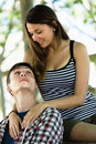 Happy loving couple enjoying outdoor each other Royalty Free Stock Image