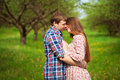 Happy loving coupleare hugging on a spring meadow couple Royalty Free Stock Images
