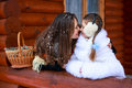 Happy loving family. mother and child girl playing, kissing and hugging Royalty Free Stock Photo