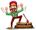 A happy lumberjack illustration of on white background Royalty Free Stock Images