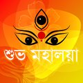 Happy mahalaya easy to edit vector illustrationface of goddess durga for message Stock Image