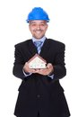 Happy Male Architect Holding Model House Royalty Free Stock Photo