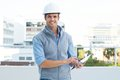 Happy male architect using digital tablet Royalty Free Stock Photo