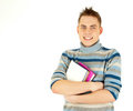 Happy male student with backpack Stock Photo