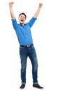 Happy man with arms raised Royalty Free Stock Image