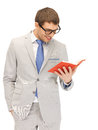 Happy man with book bright picture of Stock Images