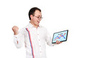 Happy man businessman and tablet with business chart Royalty Free Stock Photos
