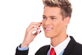 Happy man calling with his smartphone Royalty Free Stock Photography