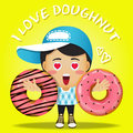 Happy man carrying big doughnut or donuts Royalty Free Stock Photo