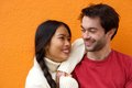 Happy man and cheerful young woman smiling Royalty Free Stock Photo
