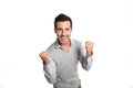 Happy man with clenched fists portrait of successful showing satisfaction Stock Photography