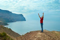 Happy man on the cliff standing with hands up looking at sea Royalty Free Stock Images