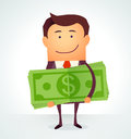 Happy man embracing pack of green money dollars. Royalty Free Stock Photo