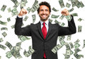 Happy man enjoying the rain of money Royalty Free Stock Photo