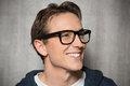 Happy man with eyeglasses young smiling Royalty Free Stock Images