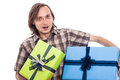 Happy man with gifts Royalty Free Stock Photo