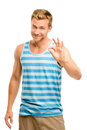 Happy man giving okay sign portrait on white background Royalty Free Stock Photo