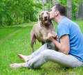 Happy man his dog outdoors Royalty Free Stock Photo