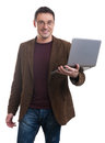 Happy man holding laptop Royalty Free Stock Photo