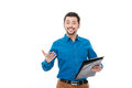 Happy man holding pen and clipboard Royalty Free Stock Photo