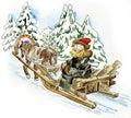 Happy man in a horse sleigh Stock Photos