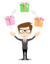 Happy man juggling gift box with bow Royalty Free Stock Photo
