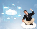 Happy man looking at modern cloud network young Stock Photos